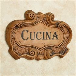 Italian Cucina Wall Plaque Saddle Brown