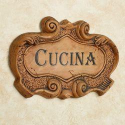 Italian Cucina Wall Plaque Saddle Brown