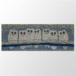 Up Owl Night Rug Runner Gray 23 x 6