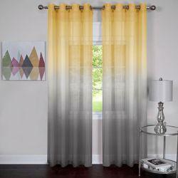 Rainbow Semi Sheer Grommet Curtain Panel Dark Gray