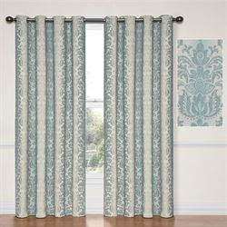 Nadya Grommet Curtain Panel Steel Blue