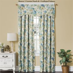 English Floral Tailored Curtain Panel Sky Blue