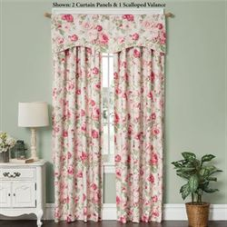 English Floral Tailored Curtain Panel Tea Rose