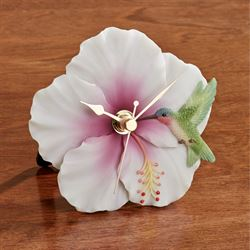 Hummingbird Hibiscus Accent Clock Multi Pastel