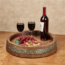 Wine Barrel Lazy Susan Walnut Small