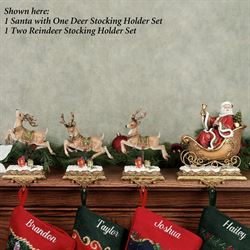 Santa and One Deer Stocking Holder Set