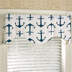 Anchored Shaped Valance Navy 52 x 17