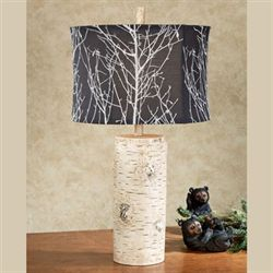 Timberline Faux Birch Table Lamp Light Cream
