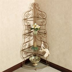 Castleton Corner Etagere Antique Gold 4 Tier