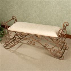 Meyda Scrolling Bench Antique Bronze