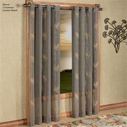 Islander Semi Sheer Grommet Curtain Panel Dark Taupe