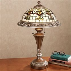Fleur de Lis Stained Glass Lamp with CFL Bulbs Loden Each with CFL Bulb