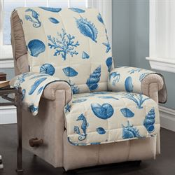 Seashells Furniture Protector Cover Medium Blue Recliner/Wing Chair