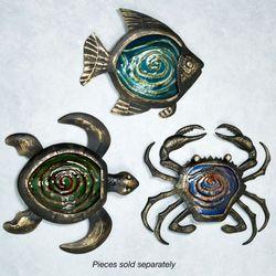 Fish Glass and Metal Wall Art Black/Gold