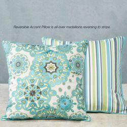 Summer Fresh Reversible Accent Pillow Aqua