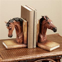 Wild Horse Bookend Pair Russet