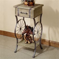 Open Range Accent Table Rustic Brown