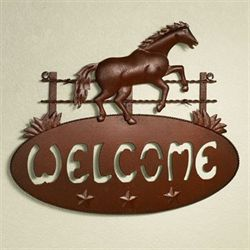 Horse Play Welcome Plaque Rustic Brown