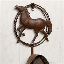 Fierce Stallion Single Wall Hook Rustic Brown