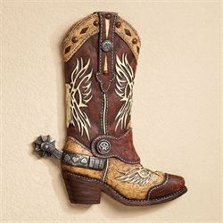 Cowboy Boot Wall Art Multi Earth