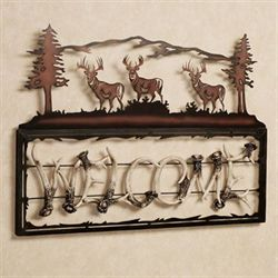 Antler Welcome Wall Sculpture Black