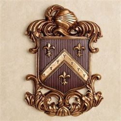 Fleur de Lis Coat of Arms Wall Plaque Cordovan