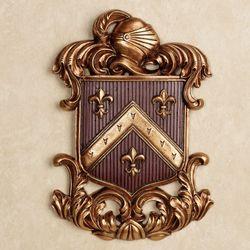 Fleur de Lis Coat of Arms Wall Plaque Cordovan
