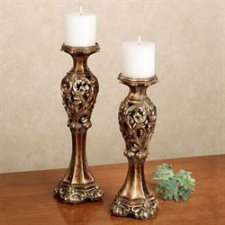 Phoebe Candleholder Set Baroque Gold Set of Two