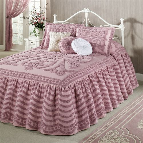 Intrigue Chenille Ruffled Flounce Oversized Bedspread Bedding