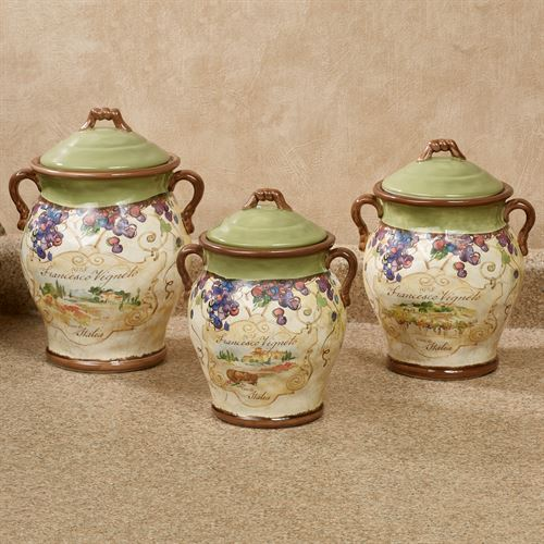 Charmant Vino Grapes Kitchen Canisters Cream Set Of Three