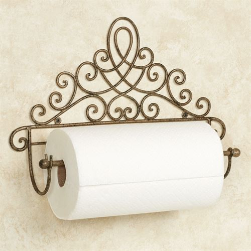 Cassoria Wall Paper Towel Holder Antique Gold