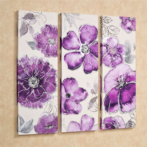 Pretty in Floral Canvas Triptych Art Amethyst Set of Three