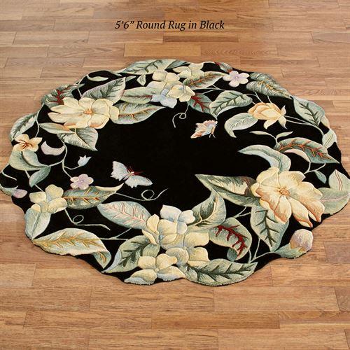 Magnolia Butterfly Round Rug Parchment