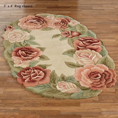 Garland Rose Sculpted Floral Oval Rugs