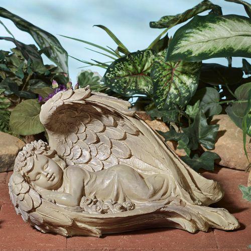 Sweet Dreams Cherub Sculpture Aged Stone