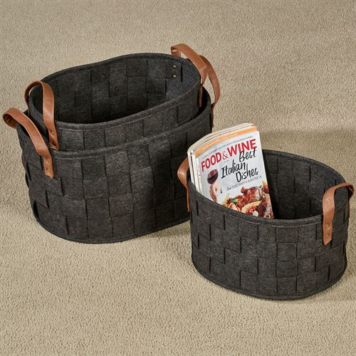 Skylar Storage Baskets Dark Gray Set of Three