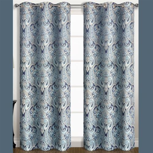 Fredonia Grommet Curtain Pair Sterling Blue