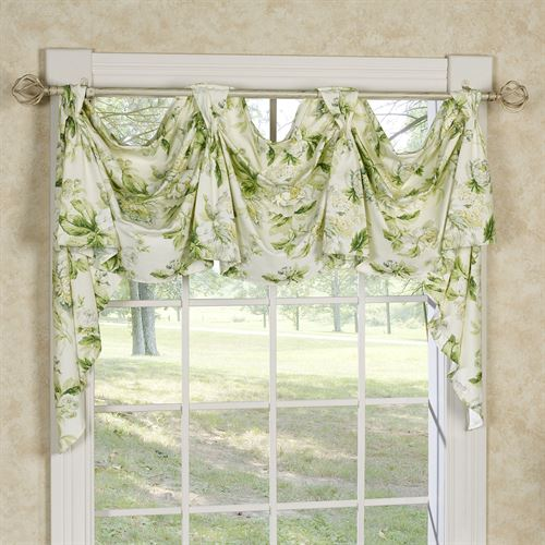Metaline Cabbage Rose Floral Victory Window Valance