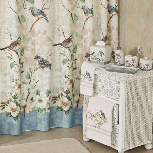 Love Nest Shower Curtain Eggshell 72 x 72