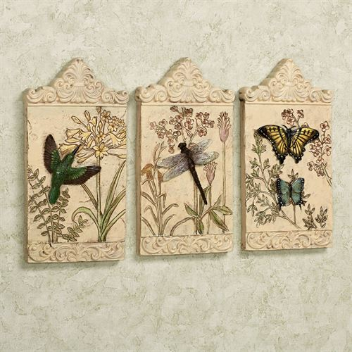 Winged Beauties Wall Plaques Multi Earth Set of Three