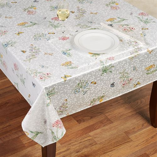 Butterfly Meadow Oblong Tablecloth White