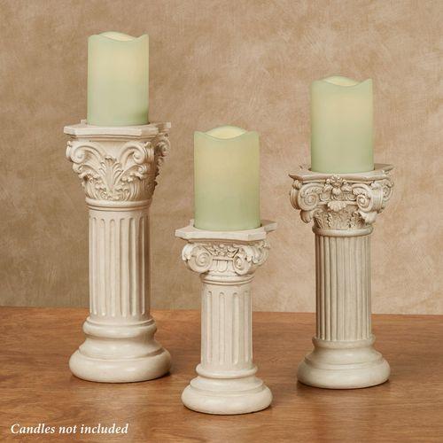 Classic Column Candleholders Ivory Set of Three