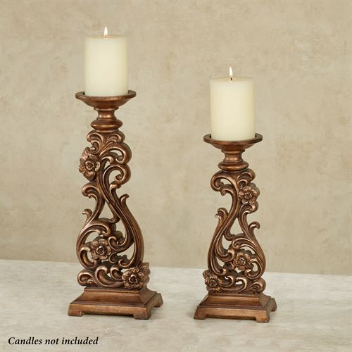 JaKayla Candleholders Burnished Gold Set of Two
