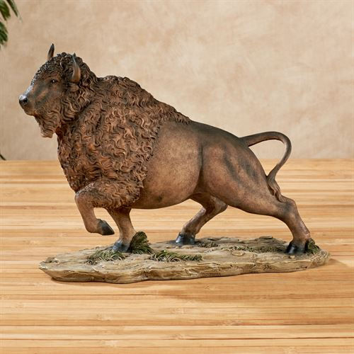 Buffalo Charge Table Sculpture Brown