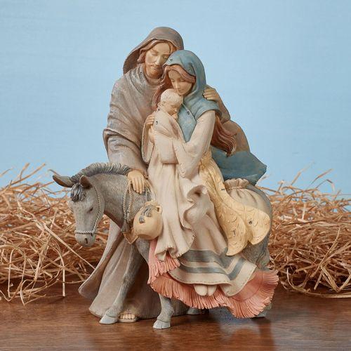 Holy Family with Donkey Figurine Multi Warm