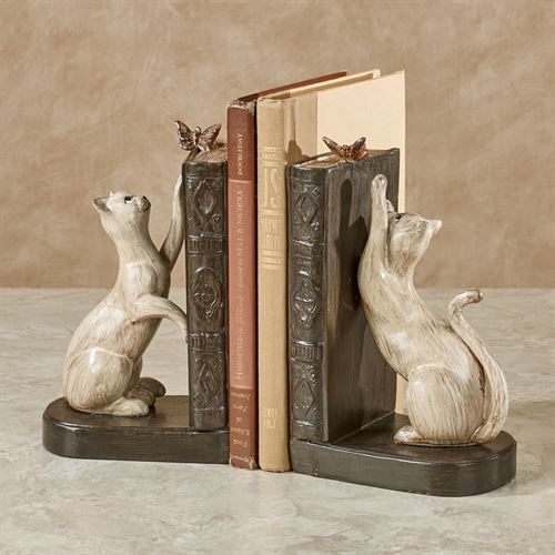 Playful Cats Bookends Brown Pair