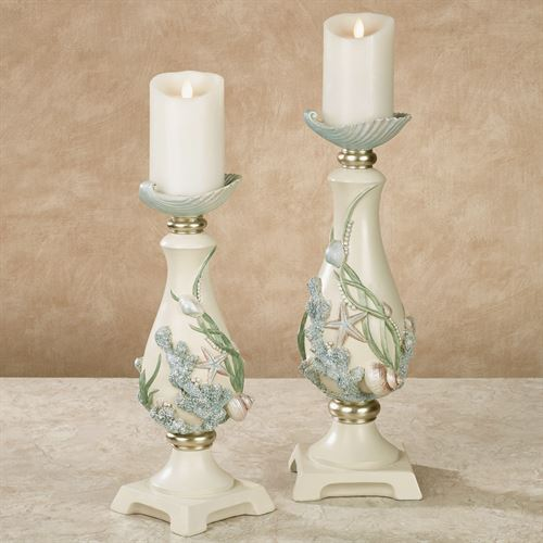 Shimmer Reef Coastal Candleholders Multi Pastel Set of Two