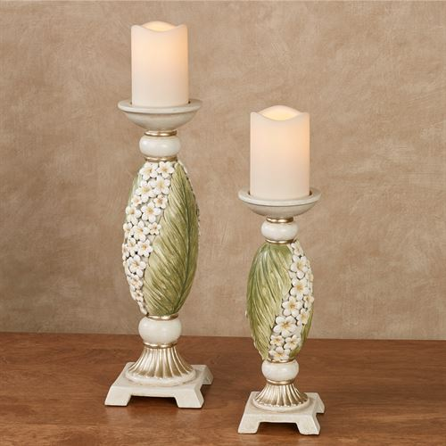 Island Bouquet Candleholders Green Set of Two
