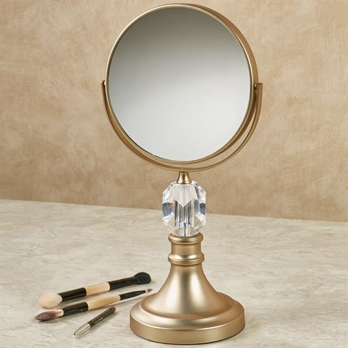 Crystal Magnifying Vanity Mirror Satin Gold