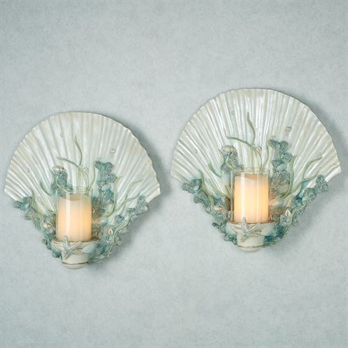 Shimmer Reef Wall Sconces Multi Pastel Pair